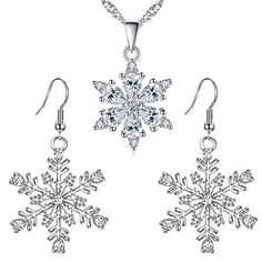 3 kiss 925 Sterling Silver Necklace with Austrian Crystals White Diamond Snowflake Ladies Pendant and Winter Party Snowflake Pierced Hook Dangle Earrings Clear