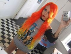 yellow hair dye | Neon Orange and Yellow | Hair Colors Ideas