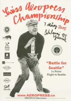 World Aeropress Championship 2015 will take place this April in Seattle and European rounds are starting in the coming days. Let us invite you by sharing posters from Poland, Denmark, Germany, Czech Republic, Russia and Switzerland. Rad Coffee, I Love Coffee, Seattle, Aeropress Coffee, Coffee Pictures, The Day Will Come, Coffee Roasting, Barista, Switzerland