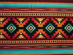 Teal Tans Brown Navajo Native American Tradtional Border Cotton Fabric via Etsy