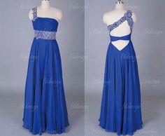 royal blue prom dress long prom dress chiffon prom by fitdesign, $136.00