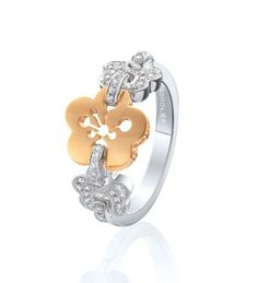 Boodles Blossom Triple Motif Ring from Harrods - beautifully detailed with sparkling round-brilliant cut diamonds set in 18 karat white gold Diamond Gemstone, Diamond Jewelry, Jewelry Rings, Fine Jewelry, Jewellery, Flower Jewelry, Metal Jewelry, Boodles, White Gold Jewelry
