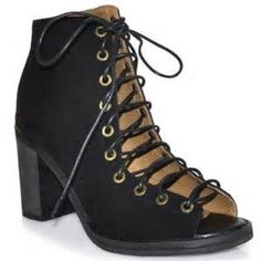 Jefferey Campbell Lace Bootie Suede lace up bootie, Has a heel, Can be worn with jeans or a dress Jeffrey Campbell Shoes Heels