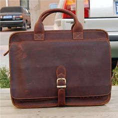 Leather Briefcase / Messenger / Laptop / Men's Bag in Vintage Reddish Brown. $149.00, via Etsy.