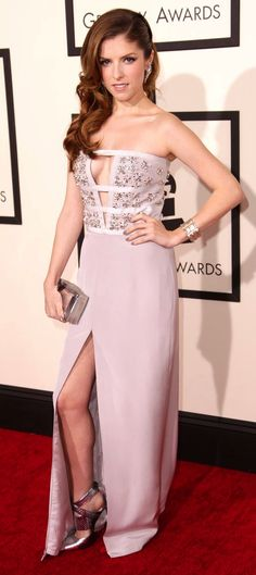 Anna Kendrick went sultry in a lilac strapless Azzaro