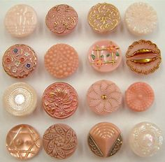 16-Vintage-Pink-Glass-Buttons-Moonglow-Lustre-Enamel-Paint-Carved