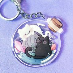 Acrylic Keychains, Acrylic Charms, Kawaii Drawings, Cute Drawings, Accessoires Iphone, Ghost Cat, Artist Alley, Cute Keychain, Crystal Magic