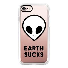 Alien 90s Grunge Aesthetic Transparent Black White Earth Sucks Cute... ($40) ❤ liked on Polyvore featuring accessories, tech accessories, phone cases, iphone case, apple iphone cases, black and white iphone case, iphone cover case and iphone cases