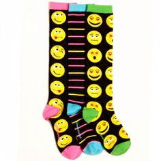 Black Emoticons Knee High Socks Style is a reflection of your personality, so show off your silly side with this fabulous set of emoticon knee highs! Bold, kooky graphics in a fashionable array of faces are sure to spruce up any outfit with funky flair. The brightest of stripes and a slew of super stylish emoticons will cover you in knee high style - plus pops of neon pink and yellow stripes, and accent colors on the heel, toe, and cuff #littlemissmatched