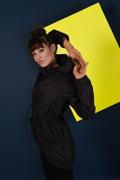 Raincoat   Rock Jacket   Black Designed Raincoat Nylon Jacket for women with hood. Raincoat fashion for women.  Black on black delicate print. Travel with style.  By: we love fuss