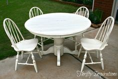 Thrifty Inspirations: Distressed Pedestal Table -