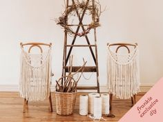 Macramé chair garland DIY tutorial.