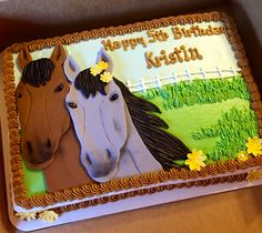 Horse sheet cake with fondant decorations #sheetcakesdonthavetobeboring #sheetcakes #horsecakes #cakeart