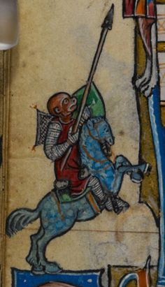 Monkey jouster detail from the Maastricht Hours, about 1300-1325. British Library
