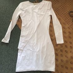 Long sleeve white dress Brand: Friend of Mine, size: US 0, detail in front Friend of Mine Dresses Long Sleeve