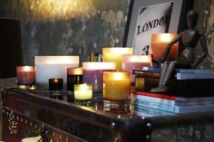 Molton Brown Scented candles, housed in colourful hand blown glass holders. Scented Candles, Pillar Candles, Candle Jars, Brown Candles, Glass Holders, Candle Holders, Candle Diffuser, Cool Items, Hand Blown Glass