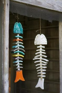 multi-colored ceramic fish skeleton wind chime-for mom and dads beach house?