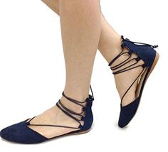 Spirit Moda Nina2 Womens Strappy Lace Up Ballet Flats DOrsay Ankle Tie Navy 7 * Read more reviews of the product by visiting the link on the image.