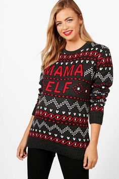 d026fa6f7147 boohoo Maternity Vic Mama Elf Christmas Jumper, maternity Christmas sweater,  holiday maternity sweater #affiliate