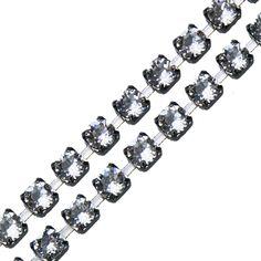 SWAROVSKI ELEMENTS CRYSTAL CUPCHAIN IN GUNMETAL 4MM     http://www.i-beads.co.uk