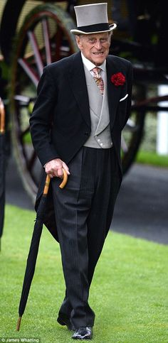 Dressed to the nines: Prince Philip looked smart in a morning suit and waistcoat 20 June 2015