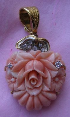 """""""Coral Rose Cameo""""  Deep Rose Coral and Diamonds in 18k Gold, Italian,  c. 1940-1950"""