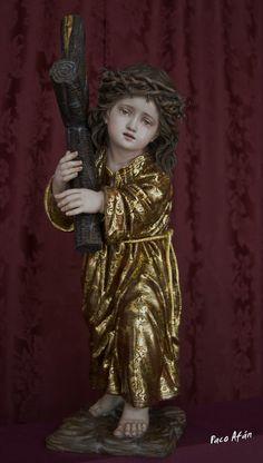 Edwin González Solís. Imaginero Escultor: NAZARENITO en madera cedro de 60cm. dorado en oro fino y estofado