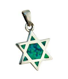 Silver and Opal Star of David Pendant #JewishJewelry #Necklace ajudaica.com