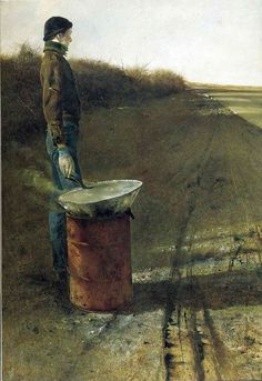 "One of my favorite Wyeth paintings. ""Roasting Chestnuts"" by Andrew Wyeth."