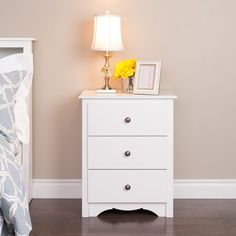 Tall Drawer Nightstand Bedside Contemporary Traditional White Wood Furniture #Prepac #ContemporaryTraditionalTransitional #Drawer #NightStand #Furniture #WhiteNightStand