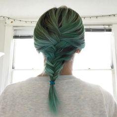 Mermaid Hair Don't Care blue green fishtail French braid