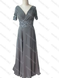 Gray Mother of the Bride Dresses Chiffon Evening Dress Long Vintage Sheer Half Sleeves Corset Women Formal 2015 Lace-appliques Beaded Sequin