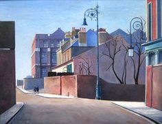 Lovely painting of Old Ford Road by Harold Steggles from via the East London Group, which features paintings by the group before the Second World War. London Art, East London, London Painting, Isle Of Dogs, David Cameron, Irish Art, Building Art, Old Fords, Modern Artists