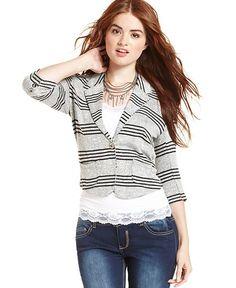 American Rag Juniors Sweater, Three-Quarter Sleeve Striped Blazer - Juniors Jackets & Blazers - Macy's