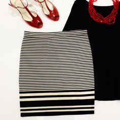 Striped Knit Skirt Black & Off White Striped Knit Skirt.  Rayon/polyester Blend.  Just above the knee. Max Studio Skirts