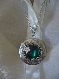 IVY LOCKET with Emerald Jewel in Antiqued Silver by CharmedValley, $32.00
