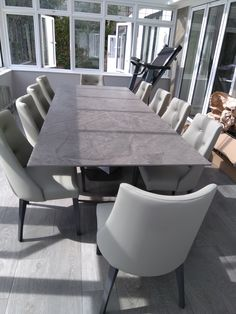 Extendable version of Victoria table in ORIX Dekton and Graphite frame. Available in other sizes and configurations. FLORIDA dining chairs in Ultra Pewter and Graphite legs. Delivered to our client in Cheshire. Contemporary Furniture, Contemporary Design, Dining Chairs, Dining Table, Leather Bed, Sofa Design, Modern Bedroom, Graphite, Pewter