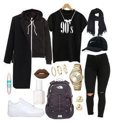 """Untitled #222"" by kingrabia on Polyvore featuring NIKE, The North Face, H&M, A.P.C., Tommy Hilfiger, Lord & Taylor, Essie, Lime Crime and Maybelline"