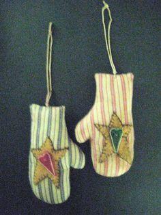 Primitive Folk Art Mitten Ornaments-Pair of Red by FolkArtWorks