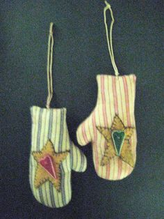 Primitive Folk Art Mitten Ornaments-Pair of Red by FolkArtWorks