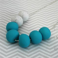 Turquoise and white marble polymer clay bead necklace | Red Raspberry | madeit.com.au