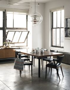 dining-rooms-loft-spaces-dark-wood-gray-white-chandeliers-dining-chairs-dining-tables