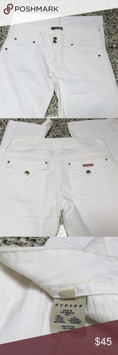 Hudson bootcut jeans Very nice Hudson bootcut jeans size 31 in white.The inseam measures approximately 33 inches and the waist lying flat measures about 15.5 inches across.These have been worn one time and have been hanging in my closet ever since. Hudson Jeans Jeans Boot Cut