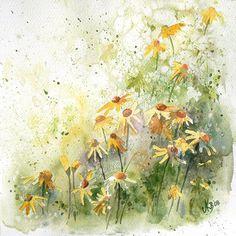 yellow meadow. watercolor. mashami.