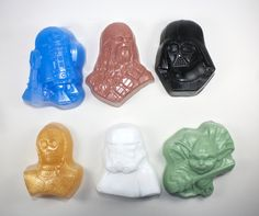 6 Medium Size Star Wars Soaps - Chewbacca, Yoda, Darth Vader, Stormtrooper, R2-D2 and C3-PO, party favor, stocking stuffer, force awakens by WizardAtWork on Etsy