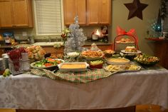 Holiday Party buffet table Christmas Entertaining, Holiday Parties, Christmas Buffet, Party Buffet, 2nd Birthday, Tablescapes, Graduation, Table Settings, Table Decorations