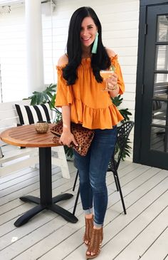 Orange Off The Shoulder Top & Brown Open Toe Pumps & Leopard Clutch Orange Top Outfit, Orange Blouse, Stylish Outfits, Cute Outfits, Fashion Outfits, Off The Shoulder Top Outfit, Blue Jean Outfits, Night Out Outfit, Thrift Fashion
