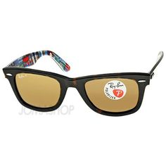 """The classic Ray-Ban Wayfarer with a havana top texture of the plastic frame and """"Patch Work Print"""" interior. Brown Polarized 50 mm lens. Bridge: 22 mm. Temple: 150 mm."""