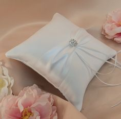 Bridal Satin and Sash Ring Bearer Pillow with by RomancingJuliet, $32.50