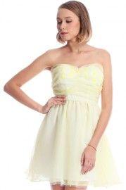ROMWE Daisy Embellished Yellow Bandeau Dress #RomwePartyDress #lulus #holidaywear